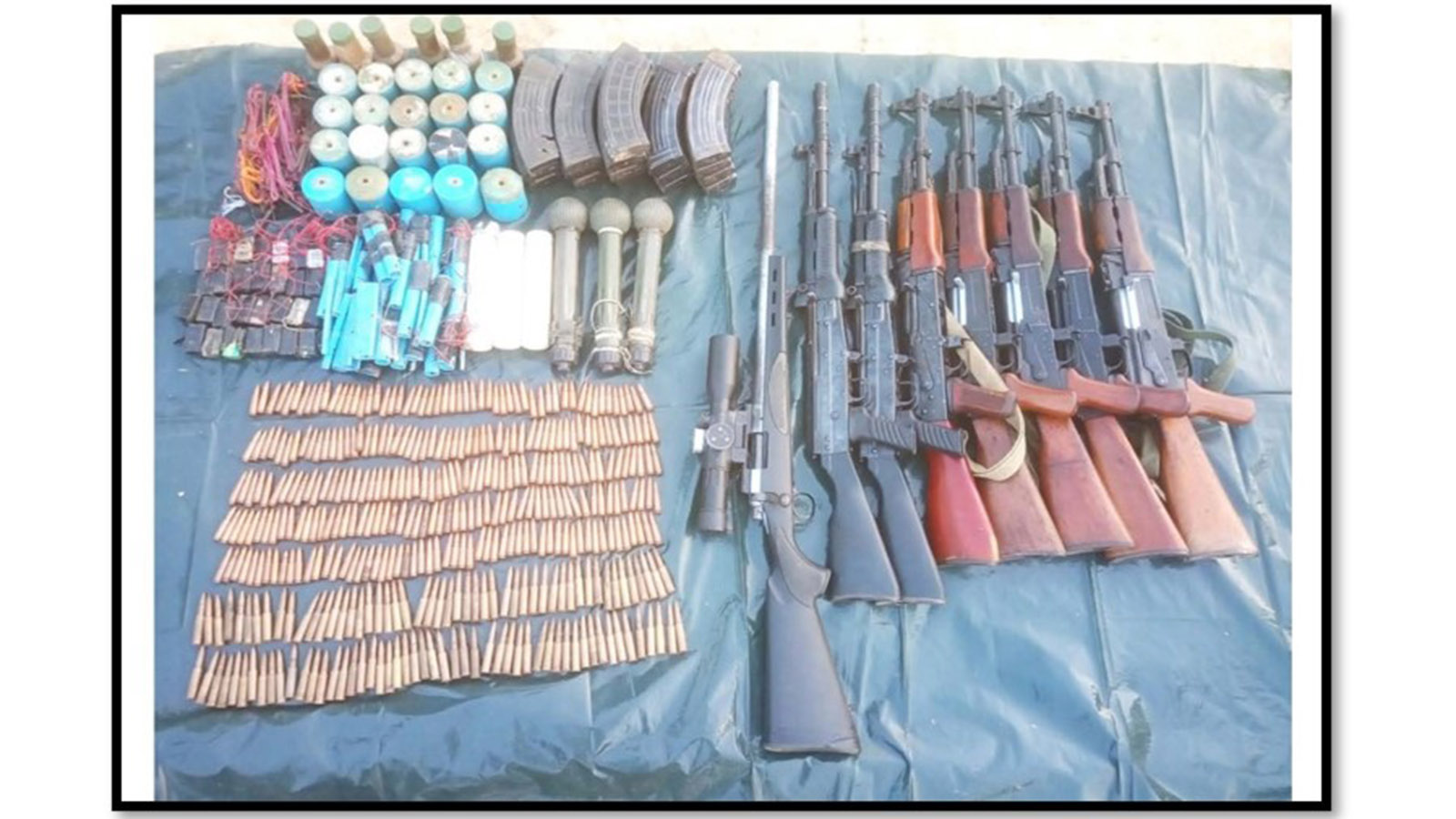 Arms and ammunition seized from AA group.Photo: Office of the C-in-C of Defence Services