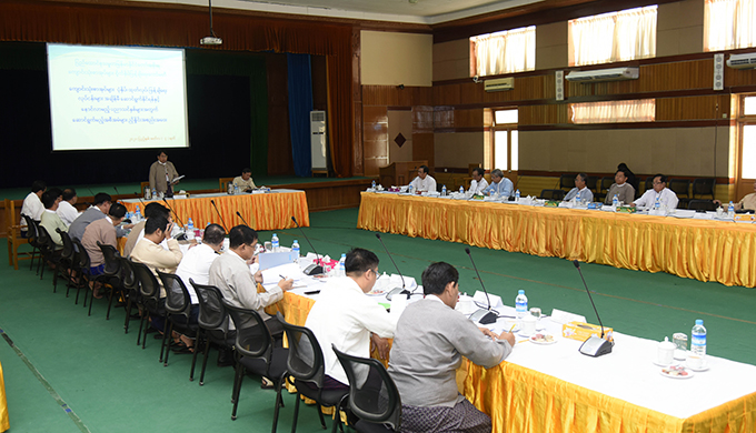 Union Minister Dr Pe Myint addresses the coordination meeting on the supply of schoolbooks in time for 2020-2021 academic year.Photo:MNA