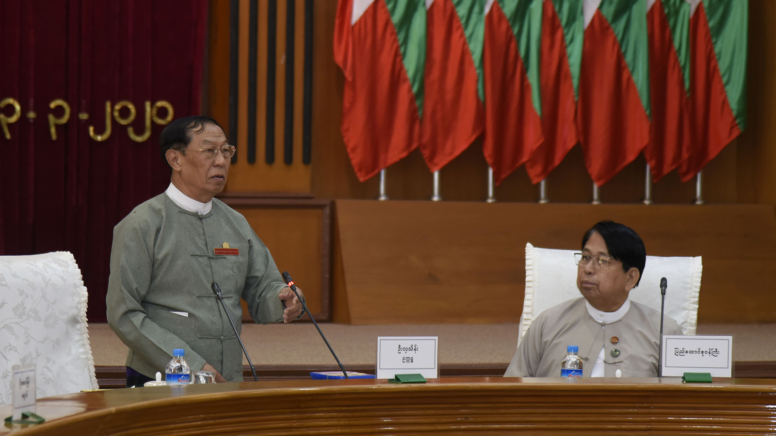 Union Election Commission Chairperson U Hla Thein addresses the meeting on clarifying work agenda for general elections in Nay Pyi Taw yesterday.Photo: MNA