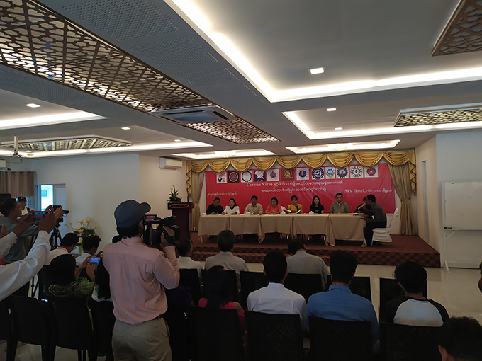 Labour organizations hold press Conference on factories closure after COVID-19 outbreak at the Sky Hotel in Hlinethaya, Yangon yesterday. Photo:     Myint Maung