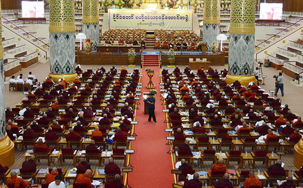 The second day meeting of the second regular meeting of the  8th State Central Working Committee of Sangha is in progress at the Maha Pasana Cave in the precinct of Kaba Aye Pagoda in Yangon yesterday.  Photo:MNA