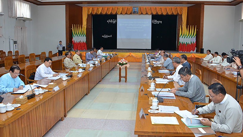 The second meeting of the Working Committee to address the impact of COVID-19 on the country's economy being held in Nay Pyi Taw yesterday. Photo:MNA