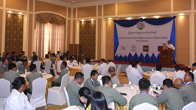 Union Election Commission Chairman U Hla Thein delivers the speech at the Election Observer Workshop in Nay Pyi Taw yesterday.Photo: MNA