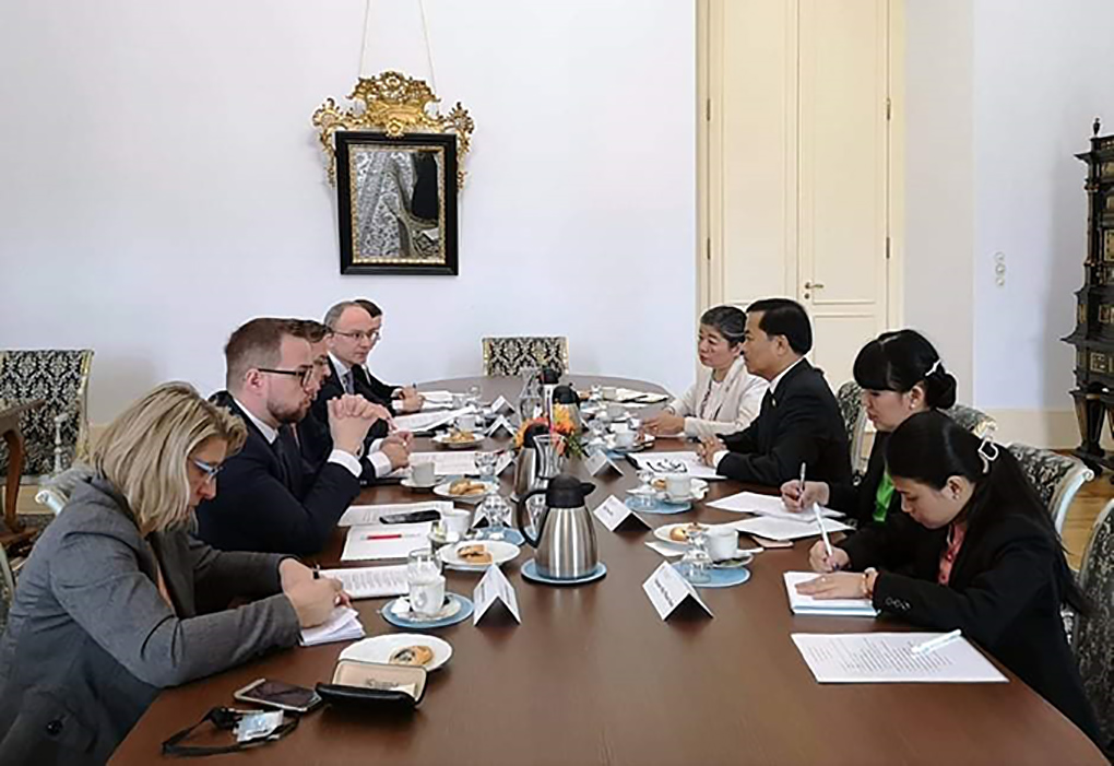The 2nd Myanmar-Czech Foreign Office Consultations being held at the Ministry of Foreign Affairs of the Czech Republic in Prague on 3 March.Photo: MNA