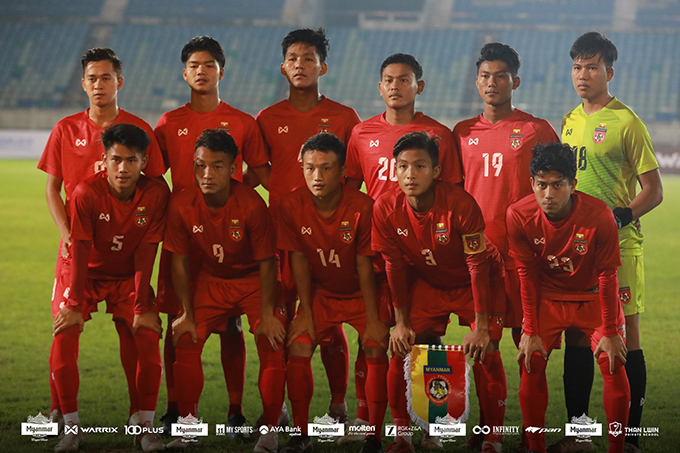 Myanmar U-19 Football squad seen at an international football match. Photo: MFF