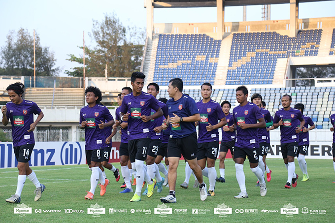 Myanmar National Football Team seen on their training session at the Thuwunna Stadium.Photo: MFF