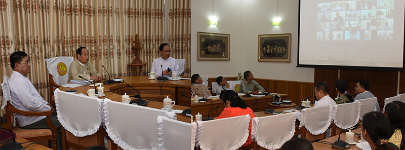 Union Minister for Health and Sports Dr Myint Htwe presides over COVID-19 daily meeting (35/2020). Photo: MNA