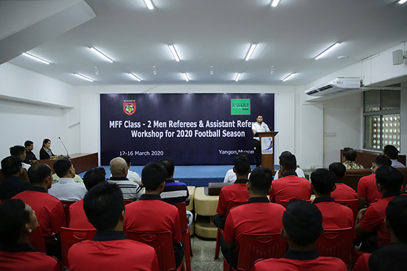 MFF Class-2 Men Referees and Assistant Referees Workshop for the 2020 Football Season was held yesterday in Yangon. Photo: MFF