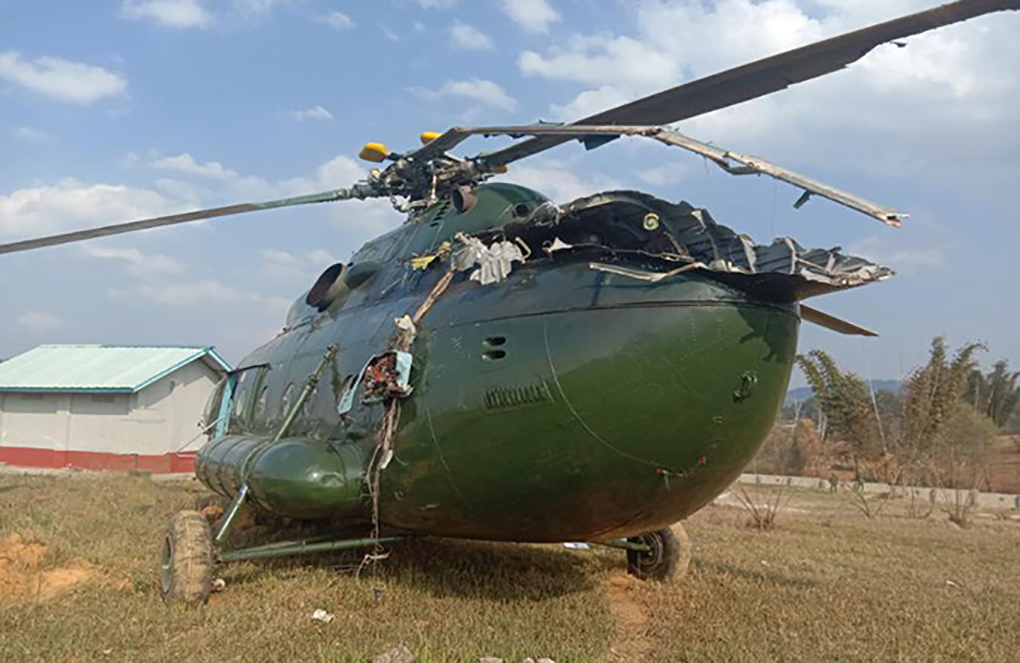 The military helicopter crashed shorty after taking off from Lwekham village in Kutkai Township.Photo: mna