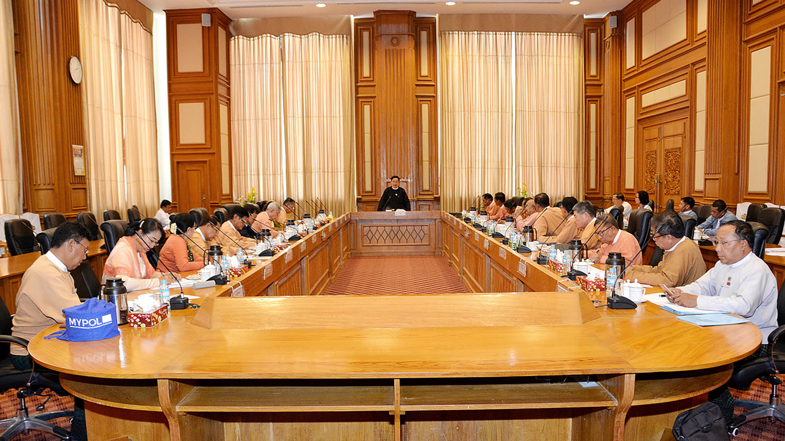 Pyithu Hluttaw Speaker U T Khun Myat addresses the coordination meeting with the committee chairpersons on 7 May, 2019.