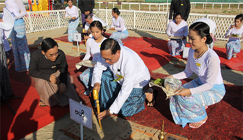 Union Chief Justice U Htun Htun Oo strikes the stake at the groundbreaking ceremony to build Judicial College of the Union Supreme Court in Nay Pyi Taw on 17 November 2019.
