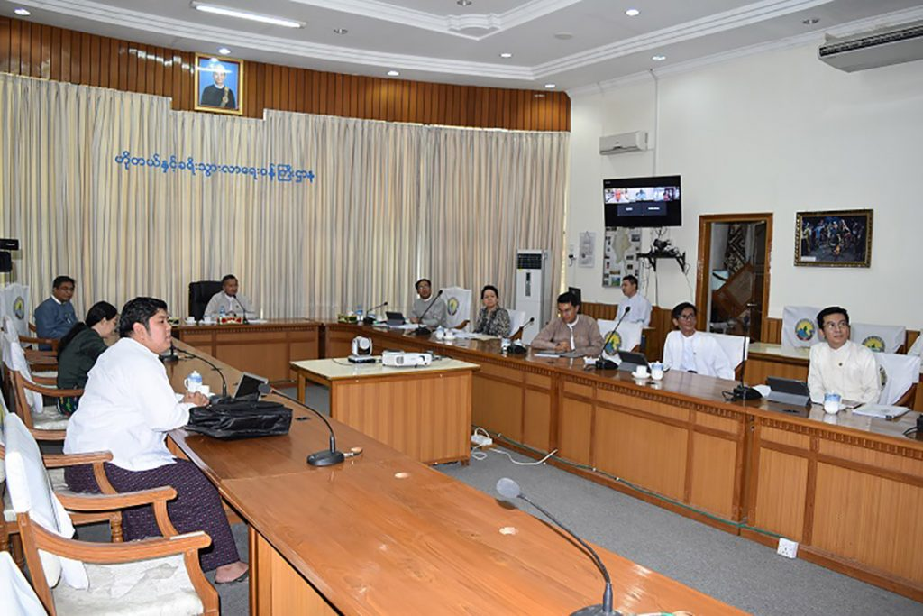 Union Minister U Ohn Maung holds a video conference with Luxembourg's Chief Technical Coordinator for the human resource development project.Photo: MNA