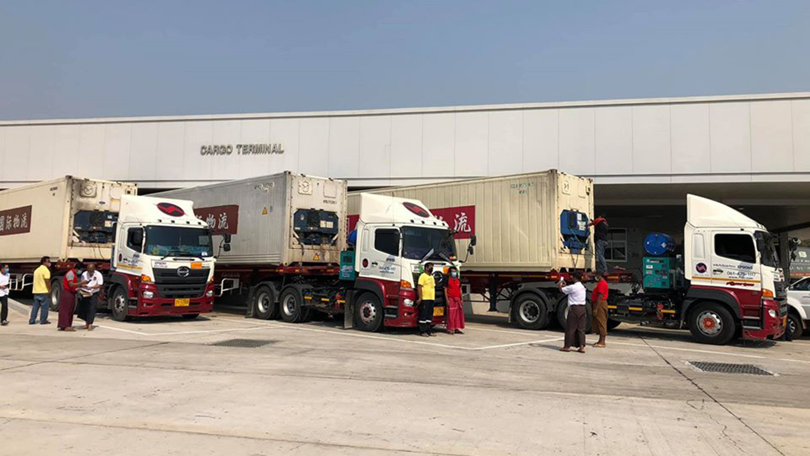 Containers carrying the Cobas 6800 Analyser for COVID-19 tests seen in Yangon yesterday. Photo: Htein Lin Aung (IPRD)