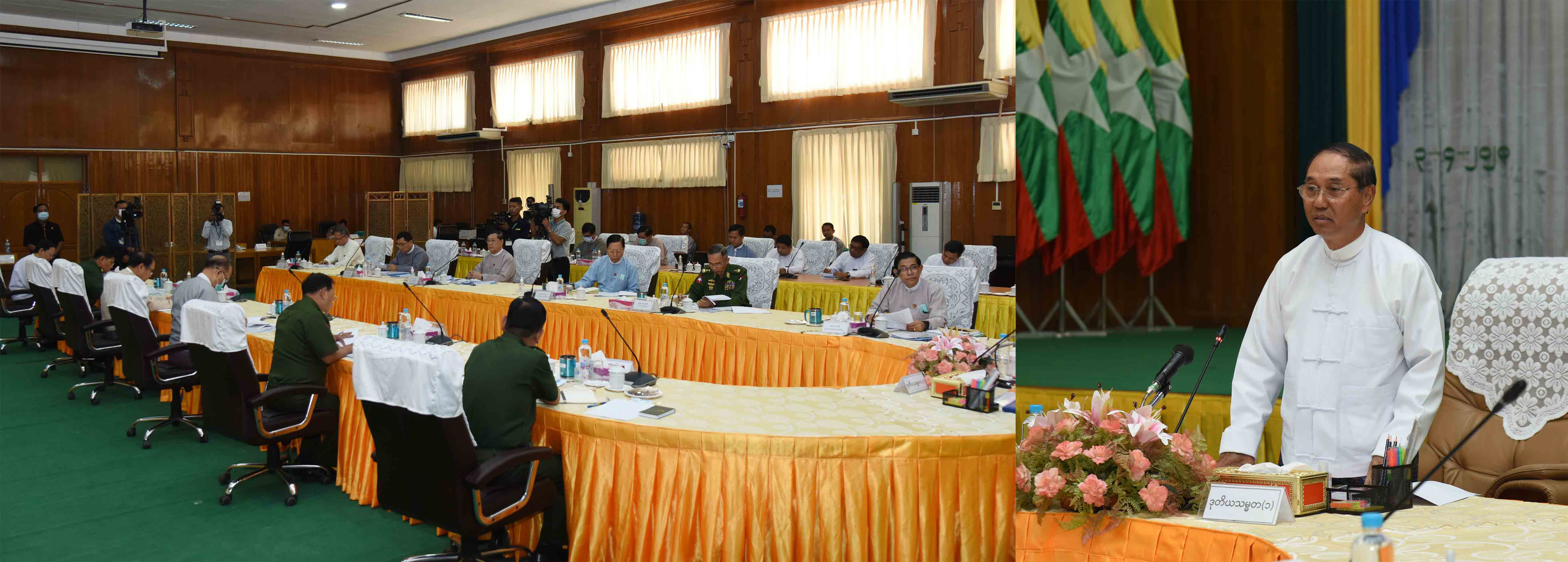 Vice President U Myint Swe delivers the speech at the meeting of the Coronavirus Disease 2019 Containment and Emergency Response Committee in Nay Pyi Taw yesterday.Photo: MNA