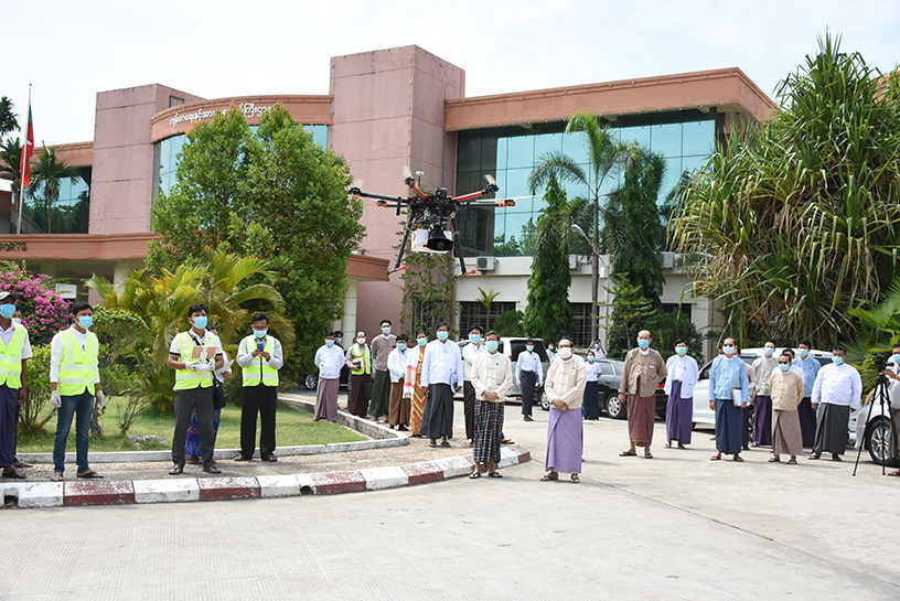 A drone is being trialled at the Ministry of Health and Sports in Nay Pyi Taw yesterday. Photo: mna