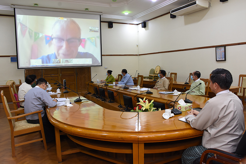 The video conference on Doing Business cooperation is in progress at the Ministry of Commerce yesterday. Photo: mna