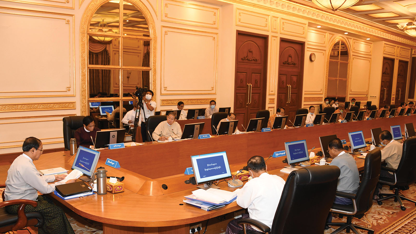 President U Win Myint attends the 1/2020 meeting of the Finance Commission in Nay Pyi Taw yesterday. Photo: MNA
