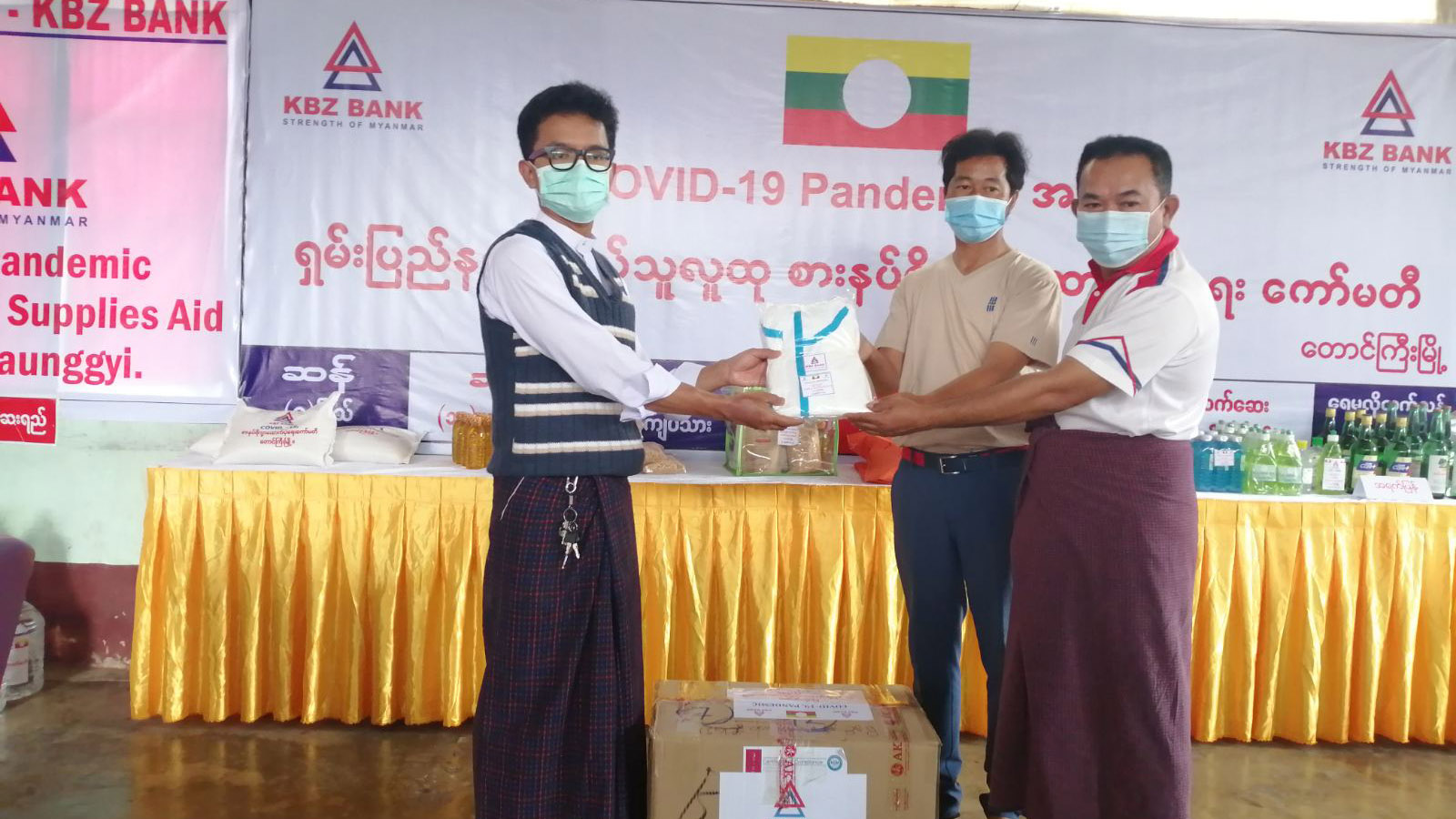 A local man accepts food aid from Shan State authorities. Photo: IPRD