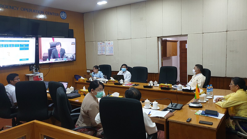 The Special Video Conferences of the ASEAN Health Ministers Meeting and ASEAN Plus Three Health Ministers Meeting on COVID-19 being held.Photo: MNA