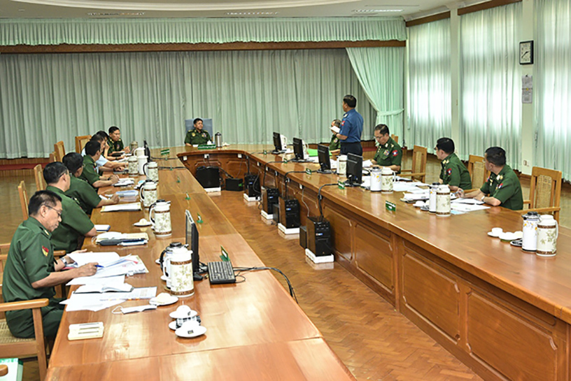 Senior General Min Aung Hlaing chairs the second coordination meeting to protect, treat and provide other necessary services to the public, Tatmadaw personnel and families regarding COVID-19.  Photo: C-in-C Defence Services