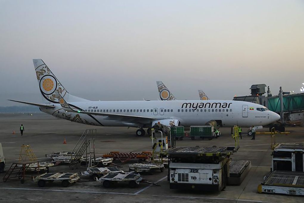 A Myanmar National Airlines aircraft sits on the termac at Yangon International Airport. PHOTO: MNA