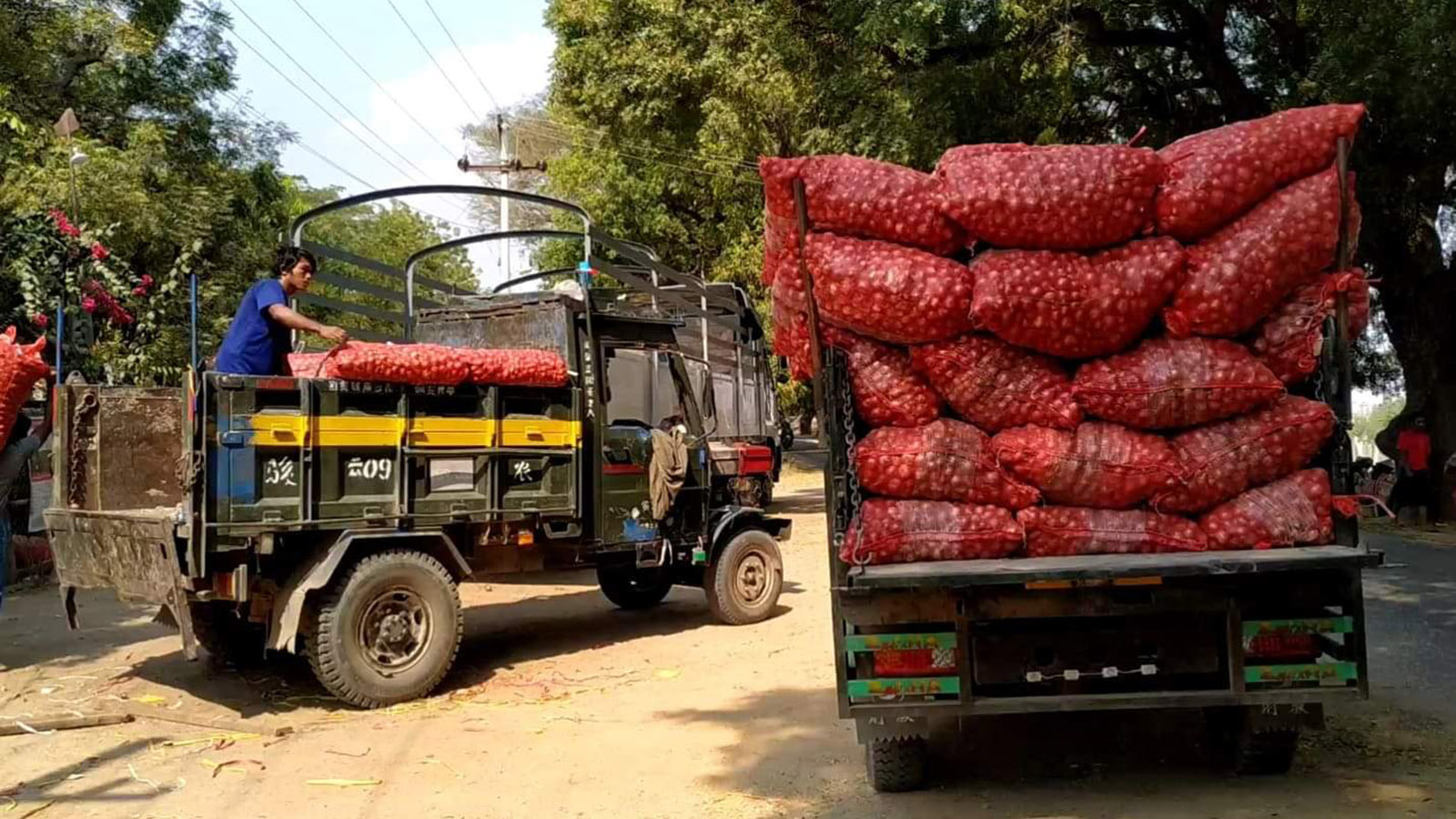 Trucks loaded of onions seen in Monywa. Photo:  Myo Win Tun