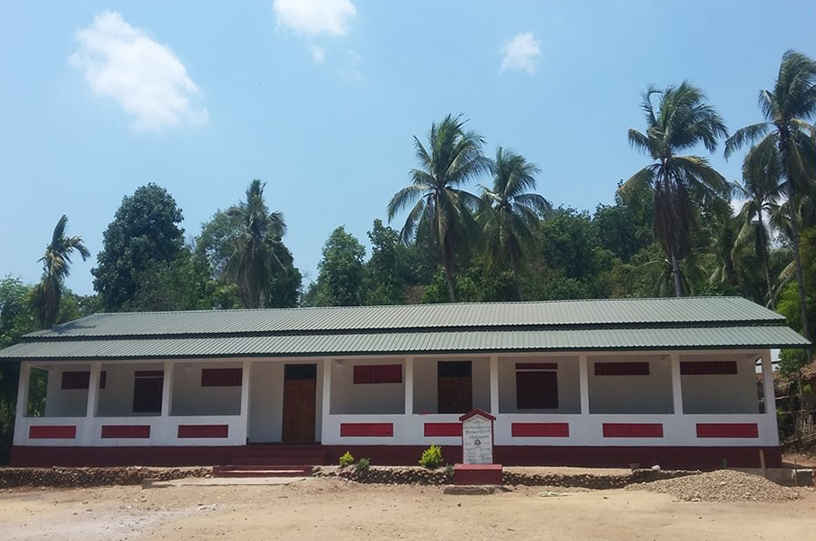 The newly constructed school building in Khawrawah village in Kya-in-Seikkyi Township.