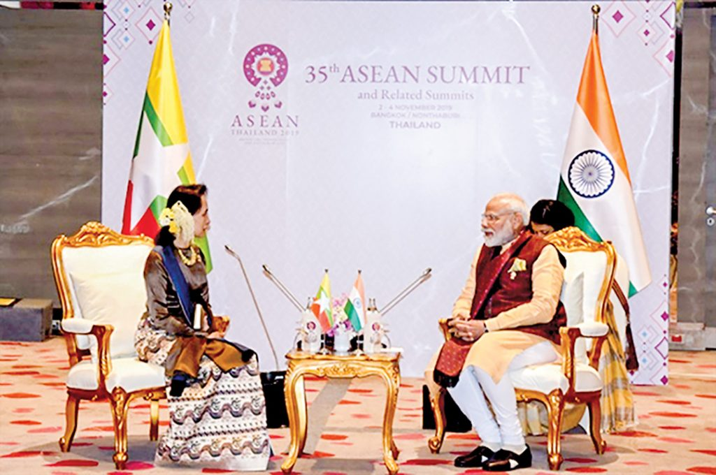 State Counsellor Daw Aung San Suu Kyi holds talk with Prime Minister of India Narendra Modi at 35th ASEAN Summit in Thailand in November 2019.
