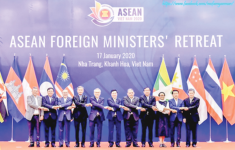 Union Minister U Kyaw Tin attends the ASEAN Foreign Ministers' Retreat in Viet Nam on 17 January 2020.