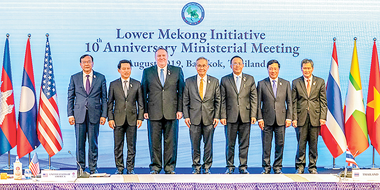 Union Minister U Kyaw Tin attends Lower Mekong Initiative 10th Anniversary Ministerial Meeting in Bangkok, Thailand, in August 2019.