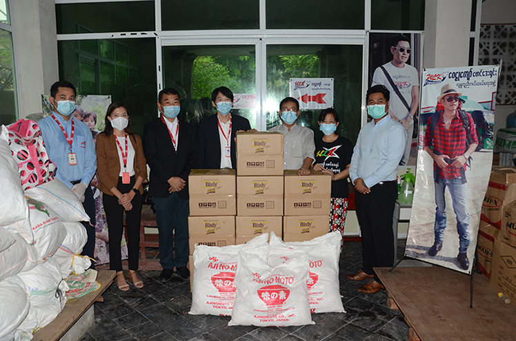 Japanese seasoning company Myanmar AJINOMOTO Foods Co., Ltd donate its products to the two leading philanthropic organizations in Myanmar. Photo: Phoe Khwar