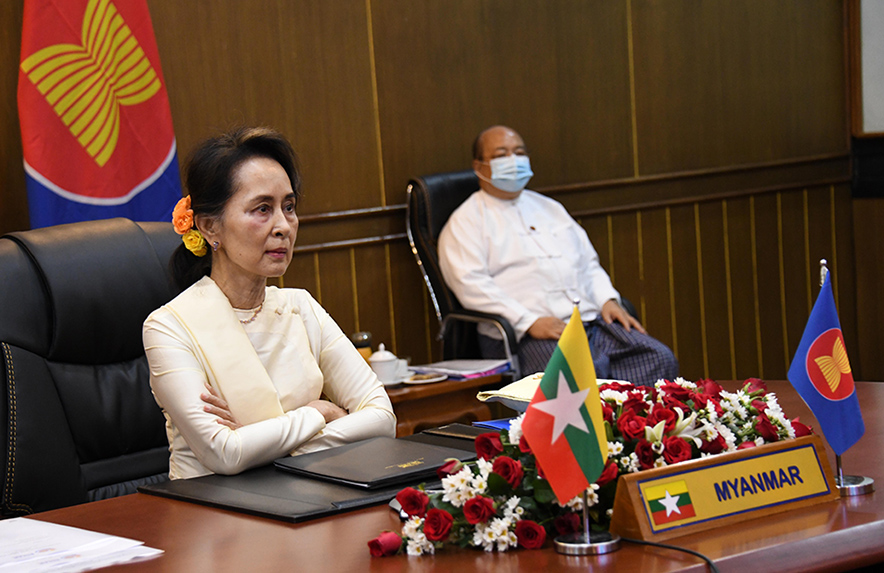 State Counsellor Daw Aung San Suu Kyi joins the virtual 36th ASEAN Summit yesterday morning from Ministry of Foreign Affairs, Nay Pyi Taw. PHOTO: MNA