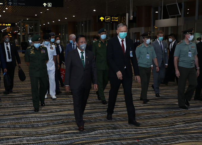 Senior General Min Aung Hlaing and Myanmar Tatmadaw delegation arrive back to Nay Pyi Taw from Russian Federation on 25 June evening after attending the 75th anniversary Victory Day parade of Great Patriotic War.PHOTO: Office of Commander-in-Chief of Defence Services