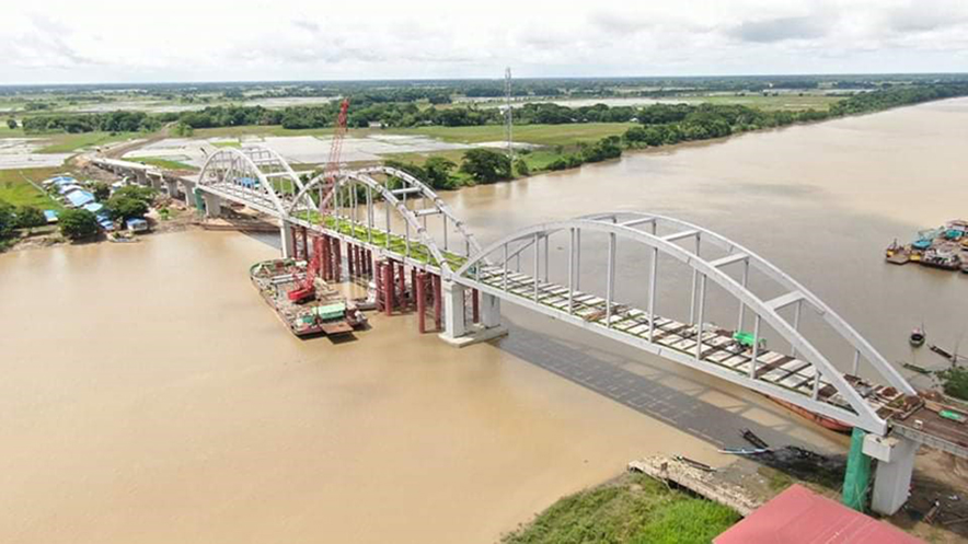 Kyunpyathat Bridge is a steel box girder with the floor of reinforced concrete and can withstand up to 60 tones of weight.—(Photo: IPRD)
