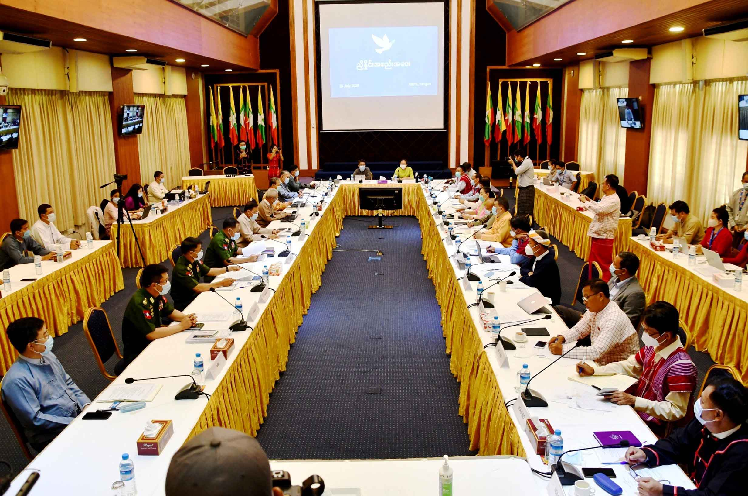 Government and ethnic armed organizations hold the 6th edition of three-day negotiation meeting at the National Reconciliation and Peace Centre (NRPC) on Shwe Li Road in Yangon on 25 July 2020. PHOTO: PHOE HTAUNG