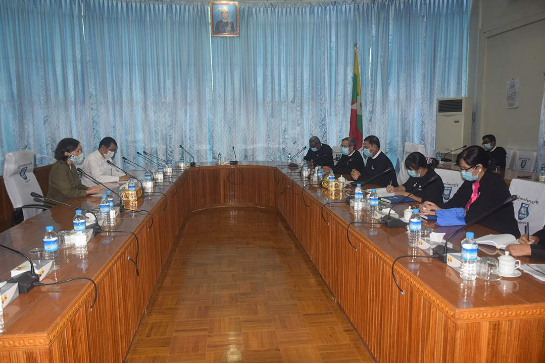 Union Attorney-General U Tun Tun Oo receives IDLO Country Manager Ms Morgane Landel on 15 July.PHOTO: MNA