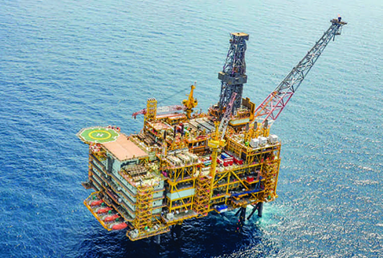 An offshore natural gas drilling site of Shwe Natural Gas Project in the west of Myanmar.PHOTO: MNA