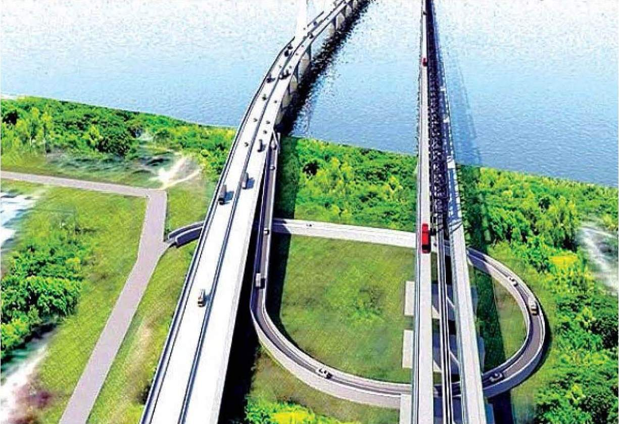 No 1 and No 3 Thanlyin bridges are seen in scale model.