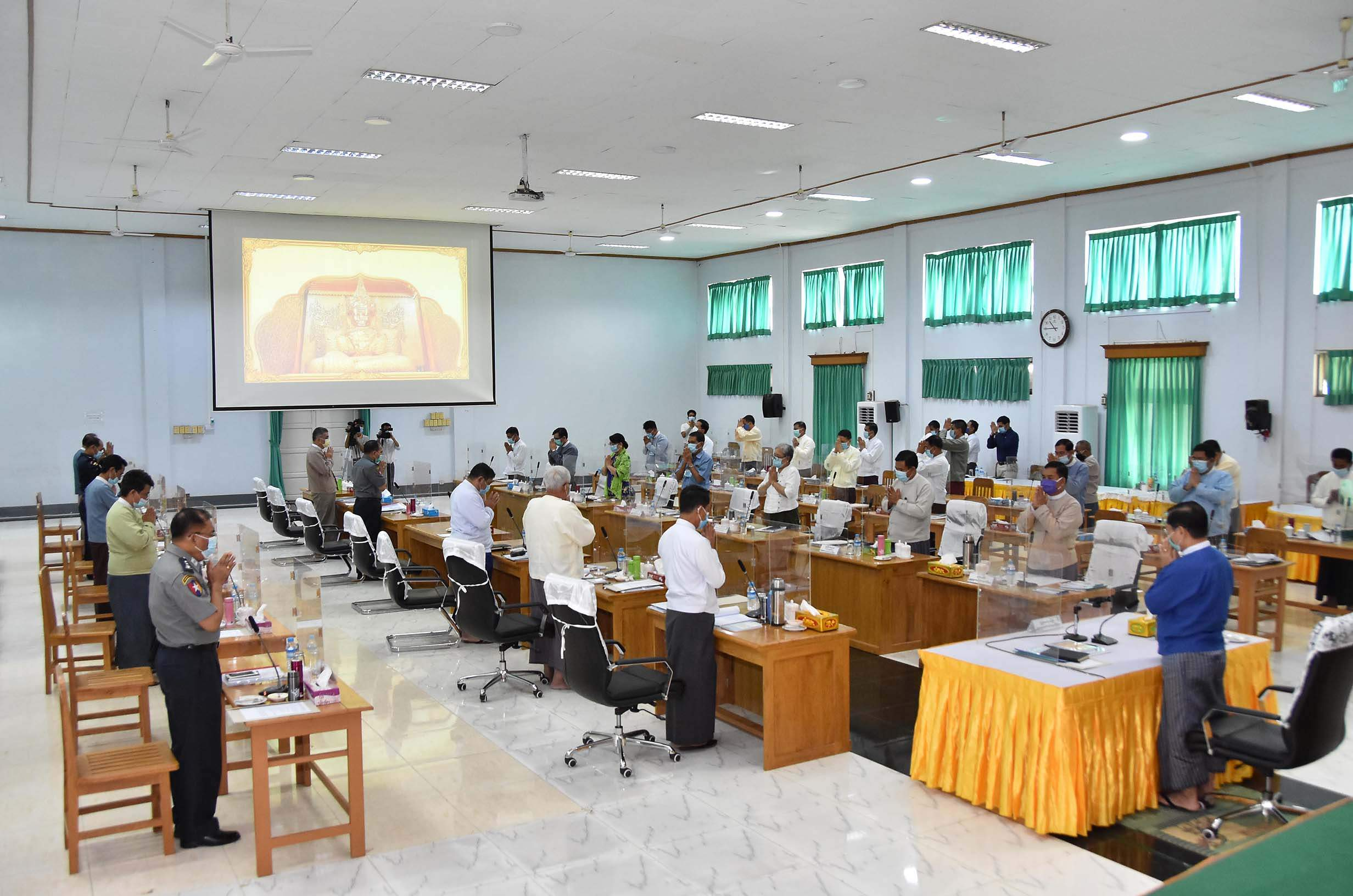 Union Minister Thura U Aung Ko presides over a coordination meeting on 13 July to hold government's annual Waso-robe offering ceremony.Photo: MNA