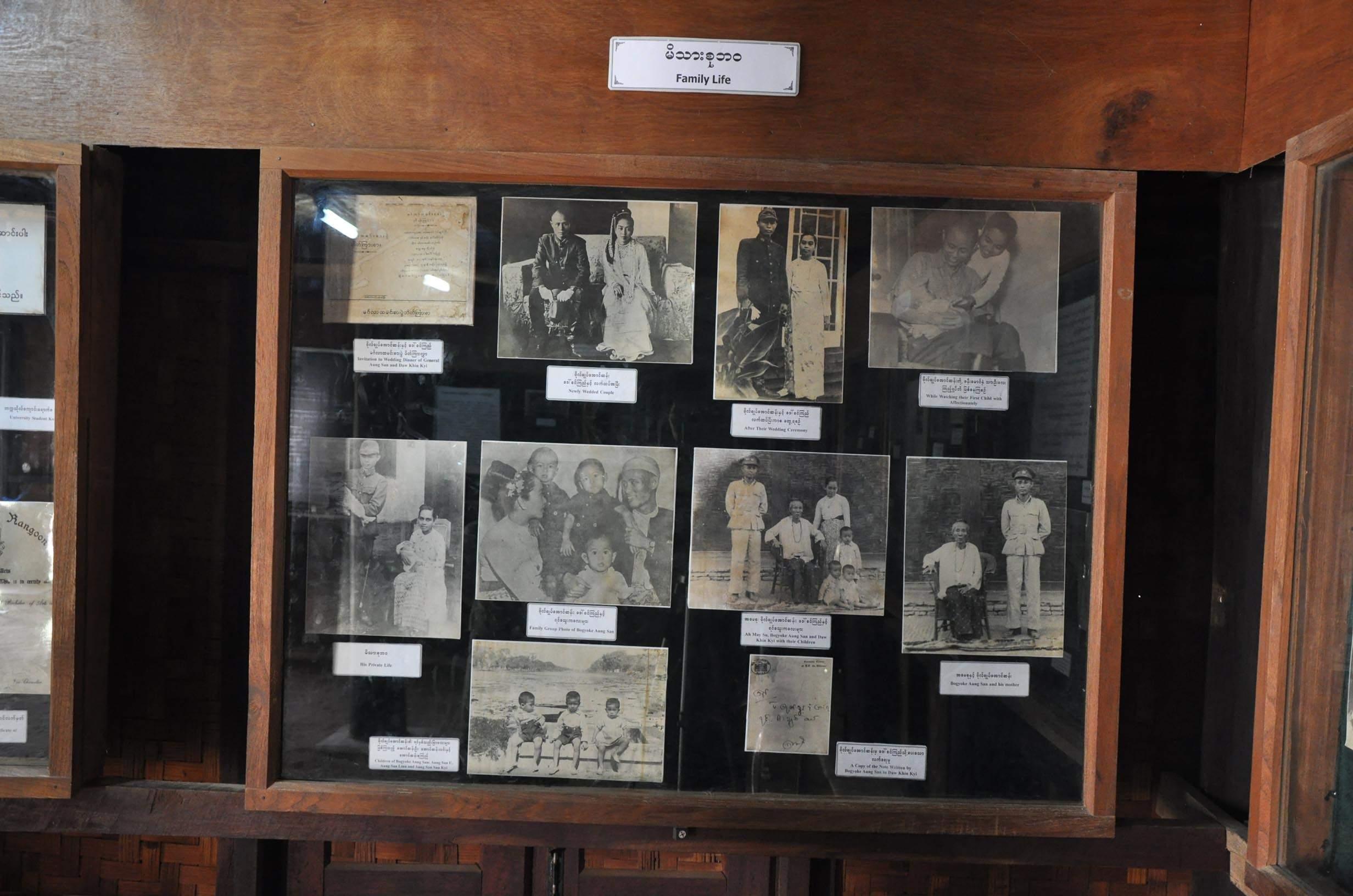 Display of family photos at the Bogyoke Aung San Residence Museum in Natmauk.Photo : MNA