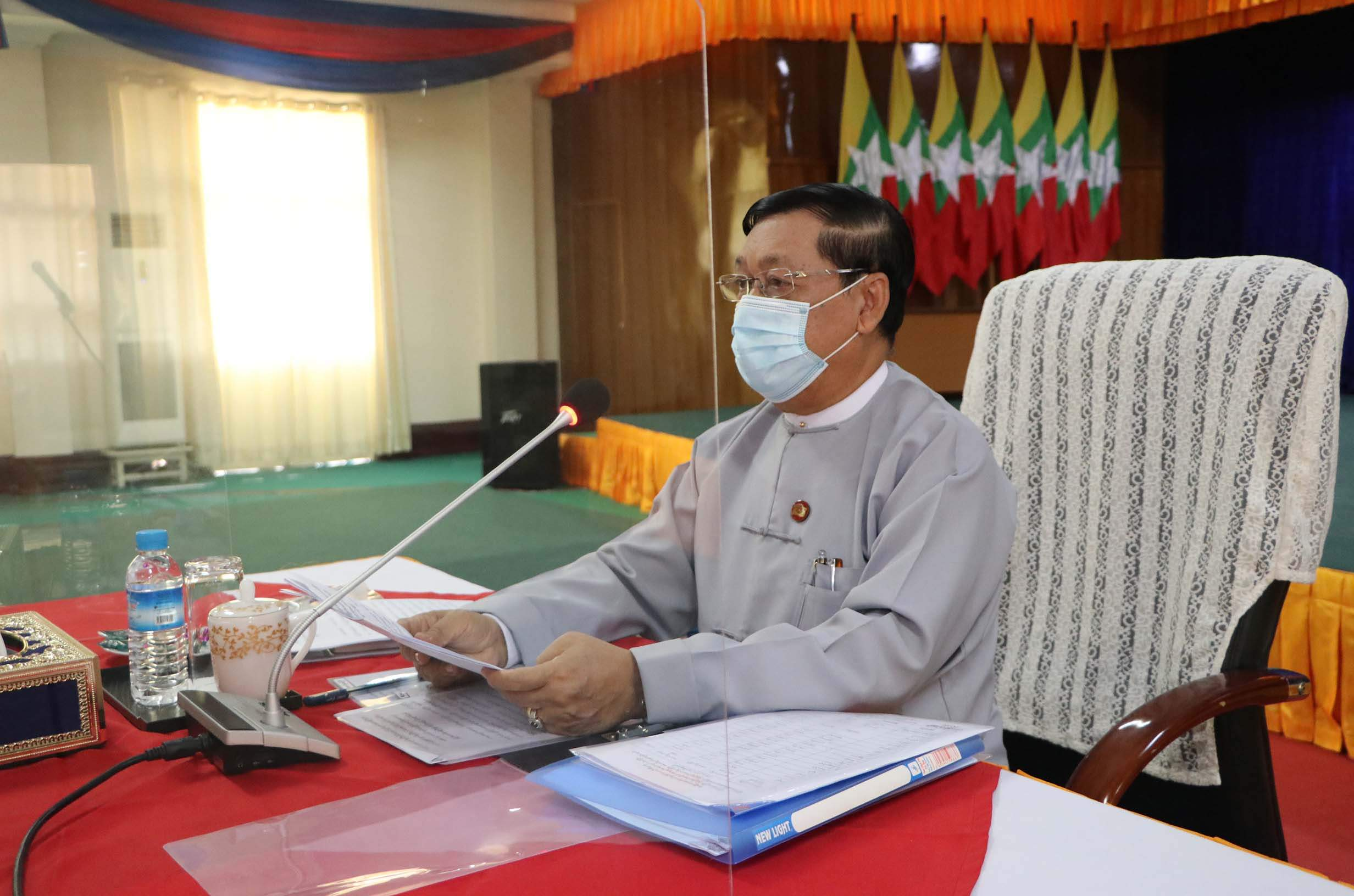 Union Minister U Thein Swe speaks during the coordination meeting in Nay Pyi Taw on 26 July 2020. Photo: MNA