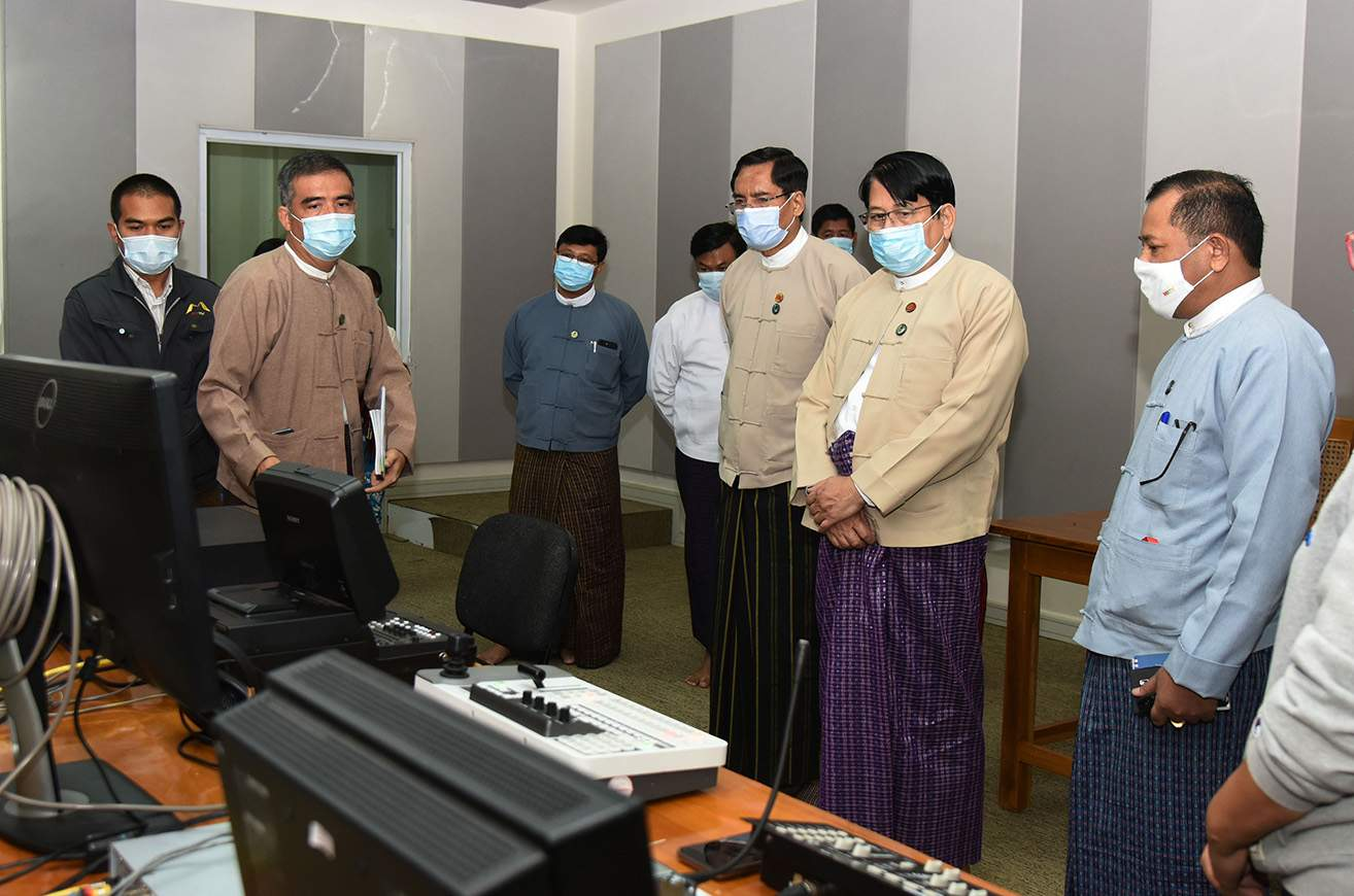 Union Minister Dr Pe Myint and party inspect the audio equipment of 5.1 Surround Sound Studio at the MRTV Office in Nay Pyi Taw (Tatkon) on 25 July 2020.Photo : MNA