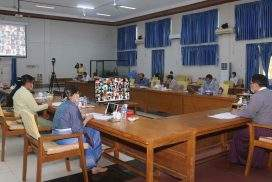 Union Minister Dr Win Myat Aye holds videoconference with COVID-19 volunteers