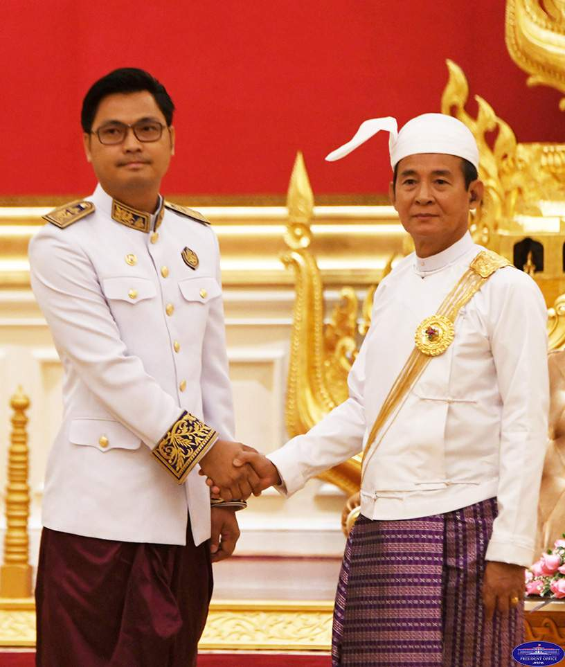 U Win Myint, President of the Republic of the Union of Myanmaraccepts Letter of Credence of Ambassador of the Kingdom of Cambodia, Mr Chhouk Bunna, at the Credentials Hall of the Presidential Palace, Nay Pyi Taw, 13 November 2019.