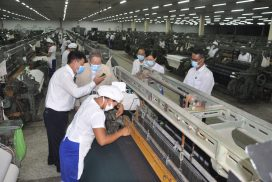 MoPFI Union Minister inspects textile factory, industry training centre