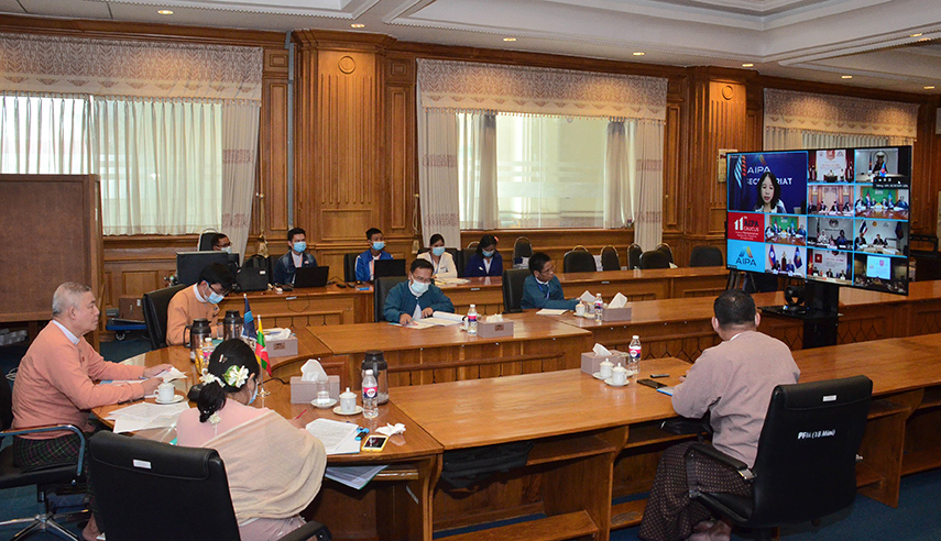 The 11th AIPA  Caucus  is in progress online on 14 August.Photo: MNA