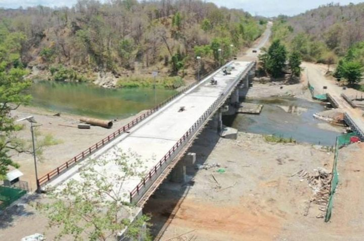 The bridge over the Mann Creek on the Pathein-Monywa Road in Minbu Township is set to be opened to traffic soon.Photo: IPRD