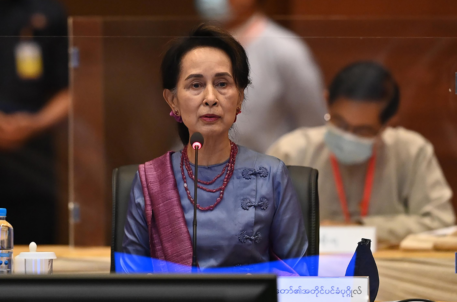 State Counsellor Daw Aung San Suu Kyi makes a speech at 20th meeting of Union Peace Dialogue Joint Committee on 20 August.Photo : MNA