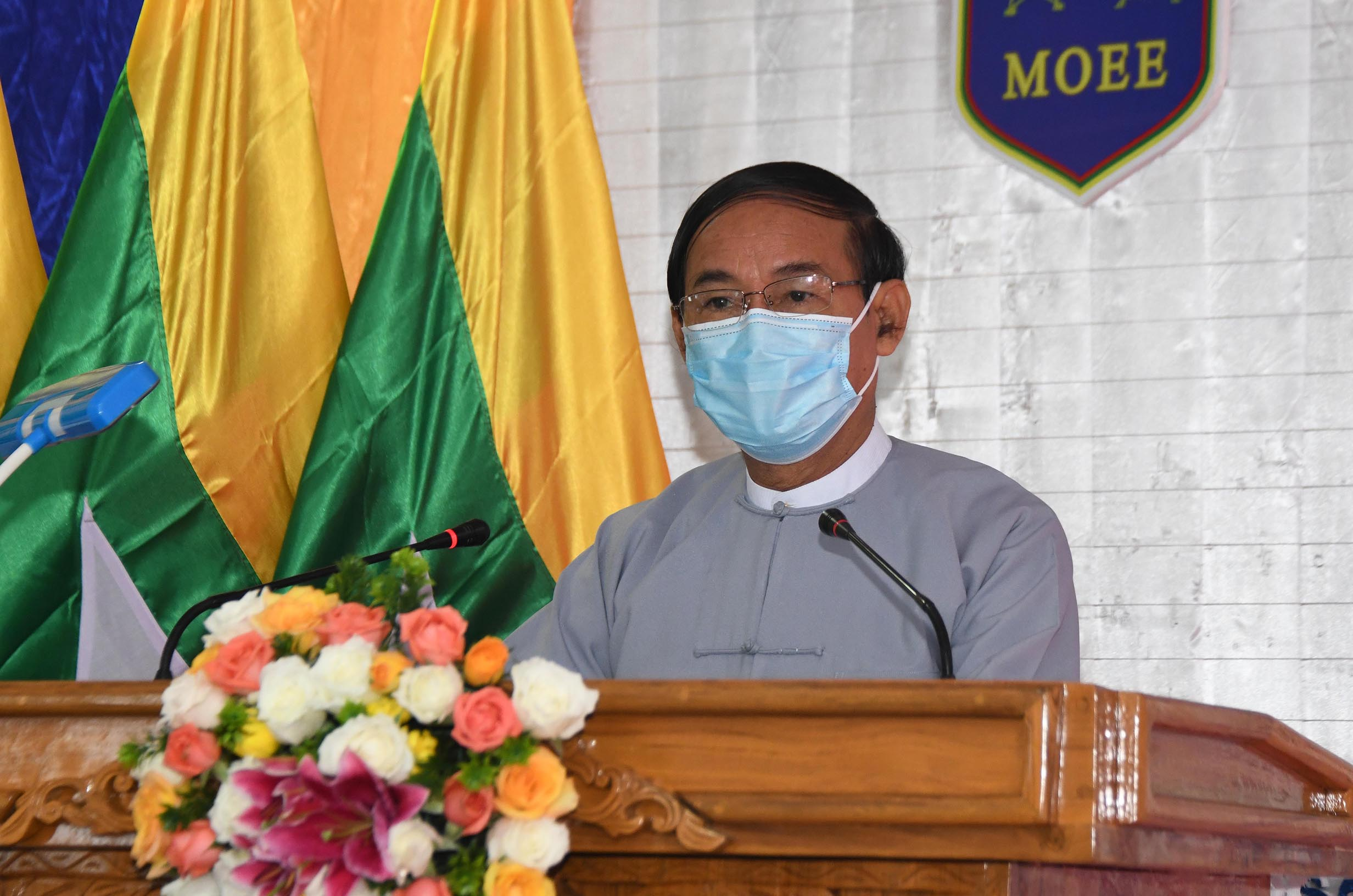 President U Win Myint speaks at ceremony to commission Main National Grid in Shan State (East), main electrical substations