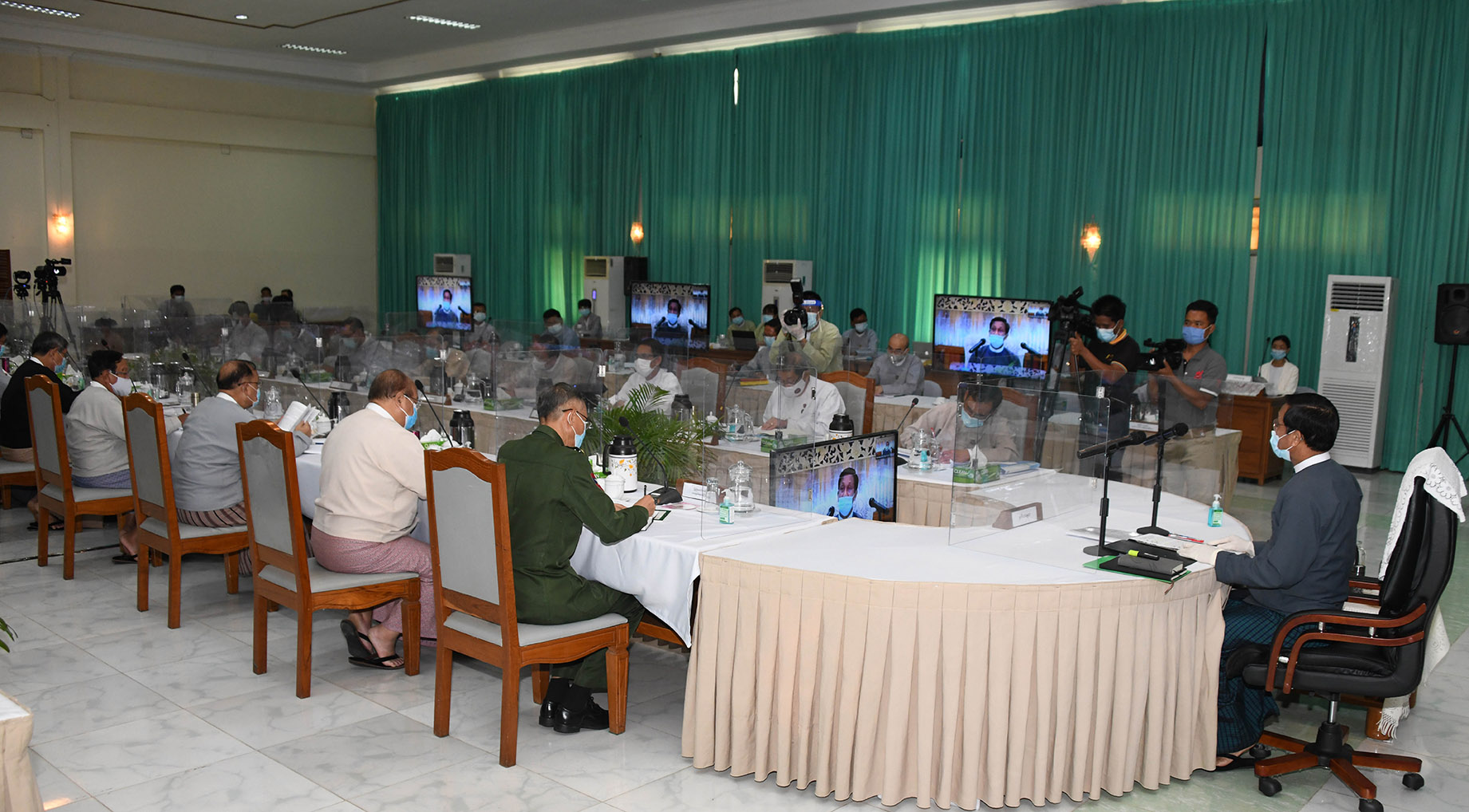 Vice President U Henry Van Thio presides over the 5th meeting of National Land Use Council at the Forest Department of the Ministry of Natural Resources and Environmental Conservation in Nay Pyi Taw on 11 August 2020.Photo: MNA